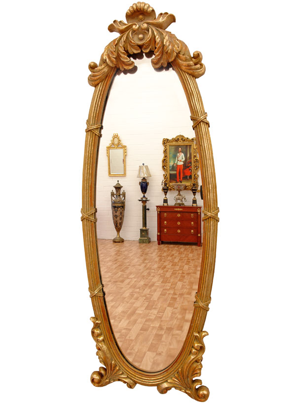 miroir ovale 86x31cm style empire louis philippe glace cadre en bois dore ebay. Black Bedroom Furniture Sets. Home Design Ideas