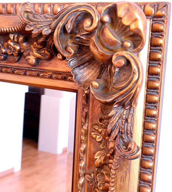 Grand miroir baroque 156x95cm glace cheminee rococo style for Miroir style baroque