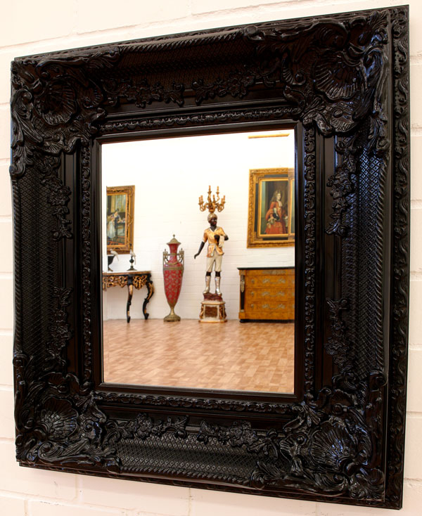 grand miroir baroque 88x78cm rococo noir glace murale hotel chateau ebay. Black Bedroom Furniture Sets. Home Design Ideas