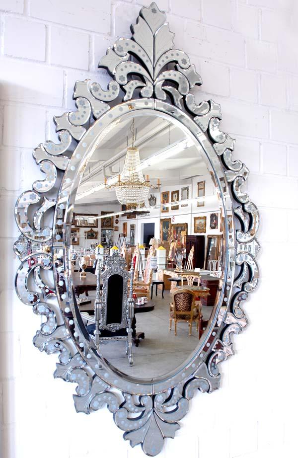 miroir venitien 140x80cm baroque glace ovale sejour