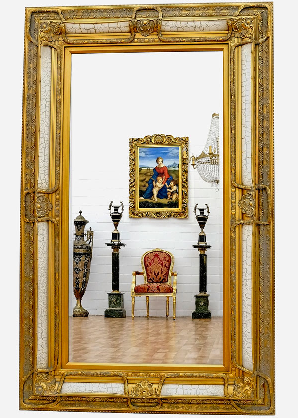 grand miroir baroque 158x98cm glace cheminee cadre en bois. Black Bedroom Furniture Sets. Home Design Ideas