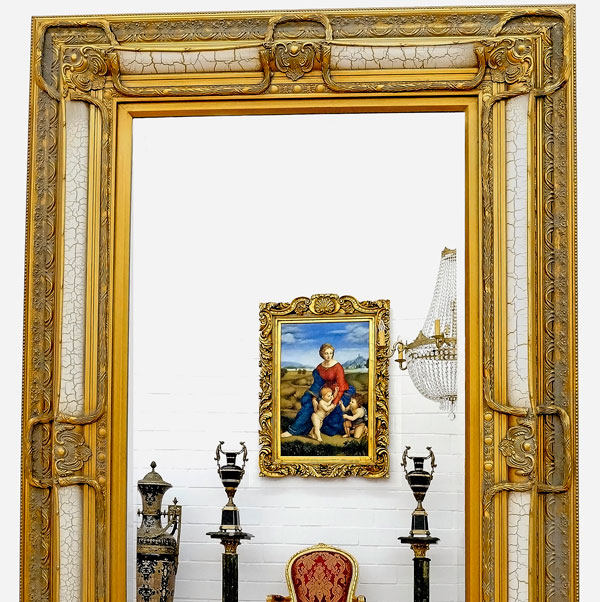 Large baroque mirror 158x98cm ice cheminee wooden frame for Grand miroir blanc baroque