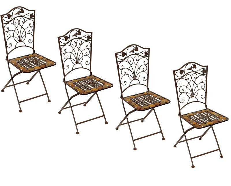 4 chaises en fer forge brun meubles de jardin salle a for Chaise de salle a manger en fer forge